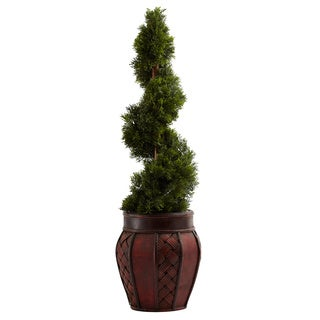 Cedar Spiral Topiary and Decorative Planter