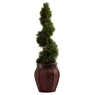 Cedar Spiral Topiary and Decorative Planter