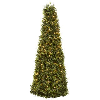 Link to Pre-lit 39-inch Boxwood Cone Tree - Green Similar Items in Decorative Accessories