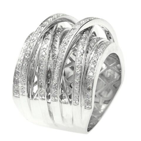 14k Gold Overlay 1ct TDW Multi Row Crossover Diamond Ring