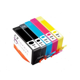 Sophia Global Compatible HP 564XL Black, Photo Black, Cyan, Magenta, Yellow Ink Cartridges (Pack of 5)