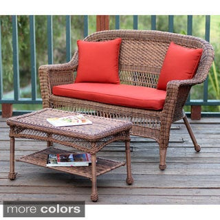 Honey Wicker Loveseat and Coffee Table Set