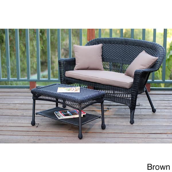 Black Wicker Loveseat And Coffee Table Set Overstock 8369753