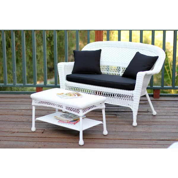 Pleasing Shop White Wicker Loveseat And Coffee Table Outdoor Patio Ocoug Best Dining Table And Chair Ideas Images Ocougorg