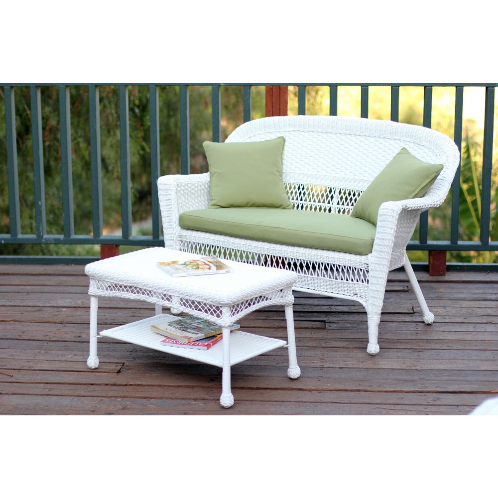 Tremendous White Wicker Loveseat And Coffee Table Outdoor Patio Set Ocoug Best Dining Table And Chair Ideas Images Ocougorg