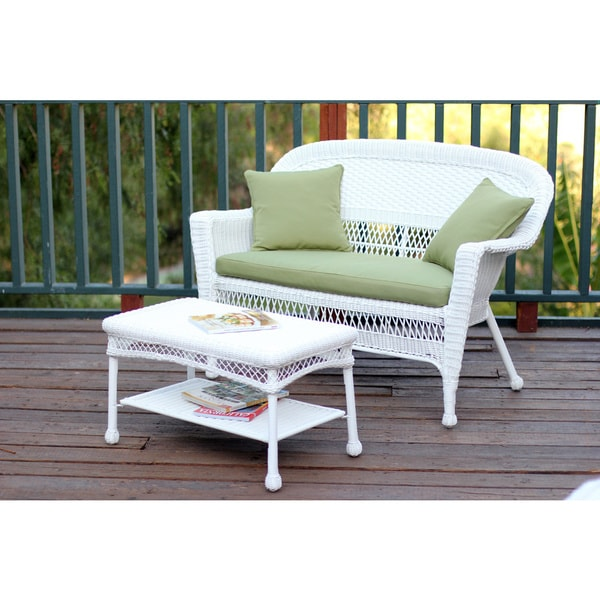 White Wicker Loveseat And Coffee Table Outdoor Patio Set   Free Shipping  Today   Overstock.com   15675840