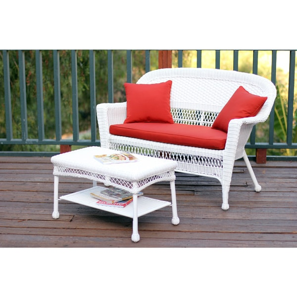 Genial White Wicker Loveseat And Coffee Table Outdoor Patio Set