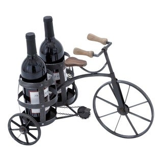 Casa Cortes Tricycle Antique Style Black Metal Wine Bottle Holder