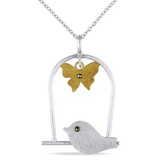 Two-tone Silver Marcasite Bird and Butterfly Necklace