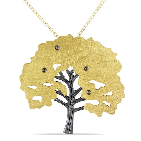 Miadora Yellow and Blackplated Silver Marcasite Tree Necklace