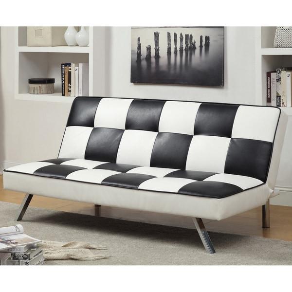 Apis Modern Retro Black White Checker Leatherette Futon