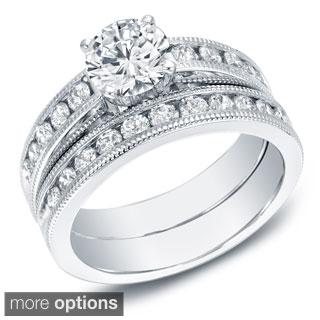 Auriya 14k White or Yellow Gold 2ct TDW Certified Diamond Bridal Set (EGL USA)