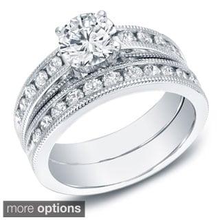 Auriya 14k White or Yellow Gold 2ct TDW Certified Diamond Bridal Set (G-H, SI1-SI2) (EGL USA)