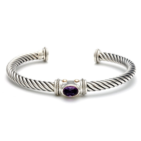 18k Yellow Gold and Sterling Silver Amethyst Bali Bangle Bracelet