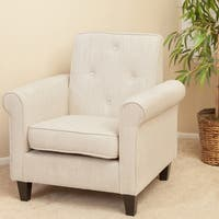 Isaac Tufted Beige Fabric Club Chair by Christopher Knight Home