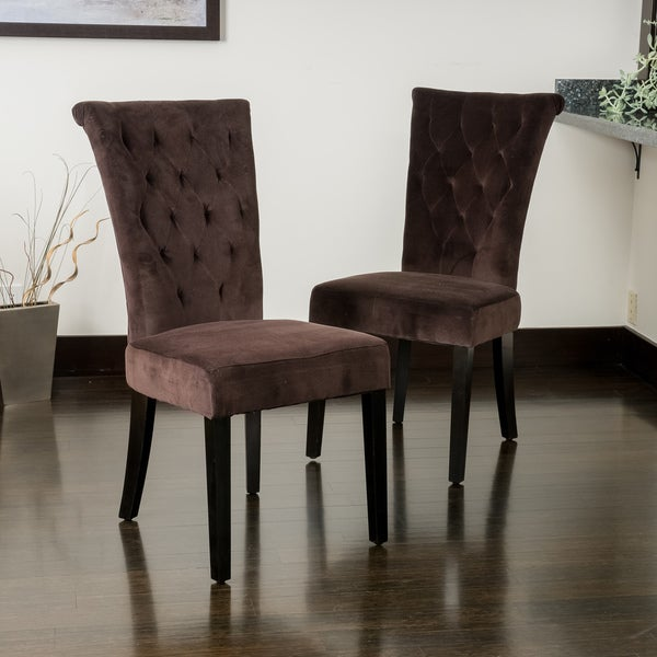 Shop Venetian Chocolate Velvet Dining Chairs Set Of 2 By
