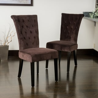 Venetian Chocolate Velvet Dining Chairs (Set of 2) by Christopher Knight Home