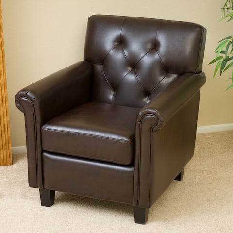Veronica Tufted Brown Leather Club Chair by Christopher Knight Home
