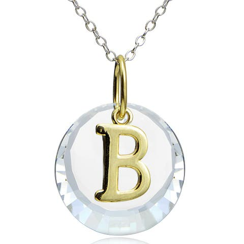 Crystal Ice Sterling Silver Crystal Initial Letter Necklace