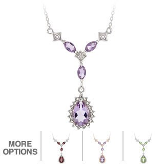 Glitzy Rocks Sterling Silver Multi-gemstone and Diamond Necklace (I-J, I2-I3)