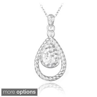 Mondevio Sterling Silver Hammered Teardrop Necklace