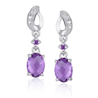 Glitzy Rocks Sterling Silver Amethyst and Diamond Dangle Earrings (I-J, I1-I2)