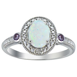 Glitzy Rocks Sterling Silver Opal, Amethyst and Diamond Oval Ring (I-J, I2-I3) 7/8 carat TGW
