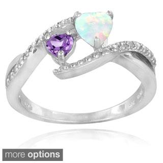 Glitzy Rocks Sterling Silver Created Opal. Amethyst and Diamond Heart Ring 1/2 carat TGW