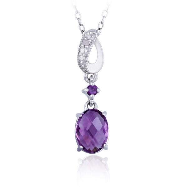 Glitzy Rocks Sterling Silver Amethyst and Diamond Necklace (I-J, I2-I3)