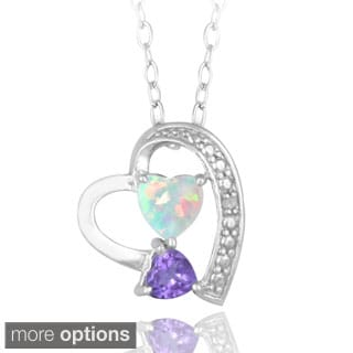 Glitzy Rocks Sterling Silver Multi-gemstone and Diamond Heart-shape Necklace (I-J, I2-I3) 1/2 carat TGW