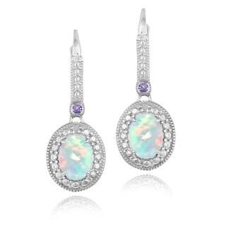 Glitzy Rocks Sterling Silver Created Opal, Amethyst and Diamond Dangle Earrings (I-J, I2-I3) 7/8 carat TGW