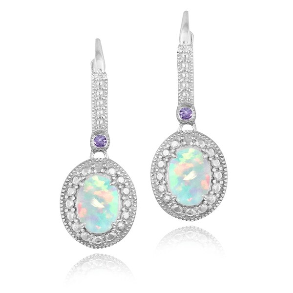 Glitzy Rocks Sterling Silver Created Opal Amethyst and Diamond Dangle Earrin