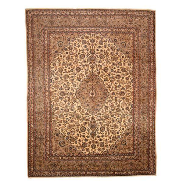 Herat Oriental Persian Hand-knotted 1960s Semi-antique Mashad Wool Rug (9'7 x 12'6) - 9'7 x 12'6