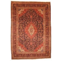 Herat Oriental Persian Hand-knotted Kashan Wool Rug (9'10 x 14'3) - 9'10 x 14'3