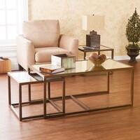 shop wyndenhall rhonda 3 piece nesting coffee table in dark cognac