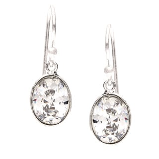Sitara Handmade Silvertone White Cubic Zarconia Dangling Earrings (India)