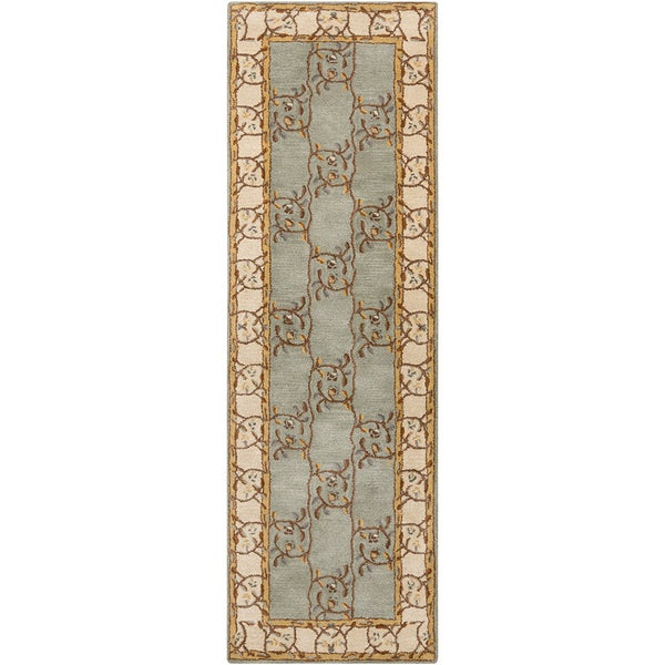 Hand tufted Calhoun Traditional Floral Wool Slate Gray Area Rug (2'6 x 8')