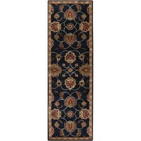 "Hand tufted Caliban Traditional Floral Wool Ink Area Rug - 2'6"" x 8'"