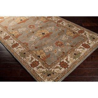 Hand-tufted Floral Border Tea Leaves New Zealand Wool Area Rug - 8' x 11'
