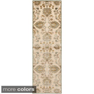 Hand-woven Traditional Beige/Brown Floral Durban Rug (2'6 x 7'10)