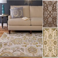 """Hand-woven Traditional Beige/Brown Floral Durban Area Rug - 4' x 5'7"""""""