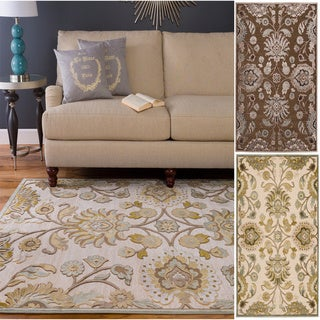 Hand-woven Traditional Beige/Brown Floral Durban Area Rug