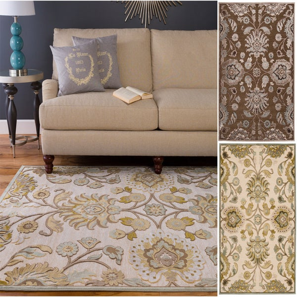 Hand Woven Traditional Beige Brown Floral Durban Area Rug