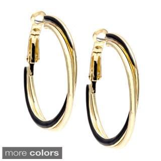 Alexa Starr Silvertone and Black Enamel Round Hoop Earrings