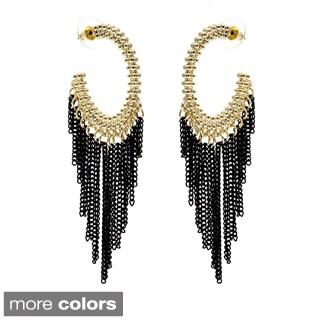 Alexa Starr Goldtone or Silvertone Black Chain Tassel Hoop Earrings