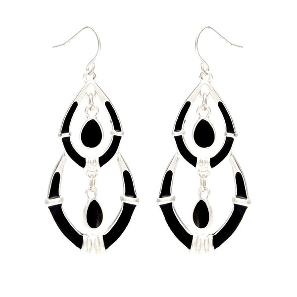 Alexa Starr Goldtone or Silvertone Black Enamel Chandelier Earrings
