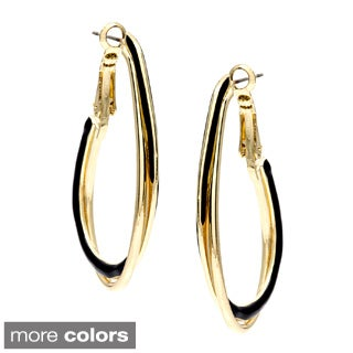 Alexa Starr Goldtone or Silvertone Black Enamel Oval Hoop Earrings