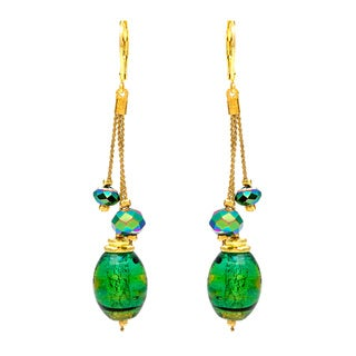 Alexa Starr Goldtone Green Painted Glass Linear Earrings
