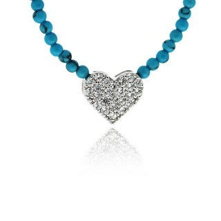 Dolce Giavonna Sterling Silver CZ and Faux Turquoise Heart Necklace
