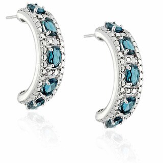 Dolce Giavonna Sterling Silver London Blue Topaz and Diamond Accent Earrings